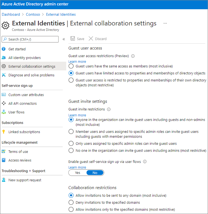 Screenshot of Azure Active Directory Organizational Relationships Settings page