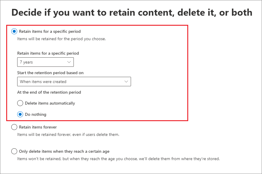 Retention settings page