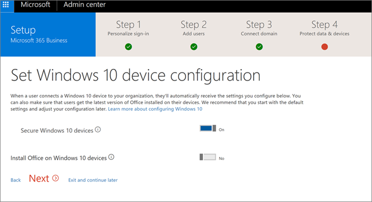 Screenshot of Prepare Windows 10 devices page
