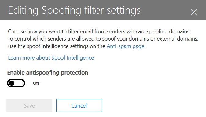 Enable or disable anti-spoofing