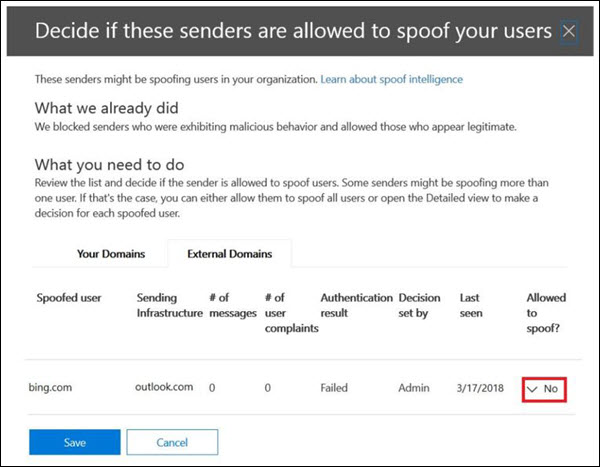 Setting up anti-spoofing allowed senders