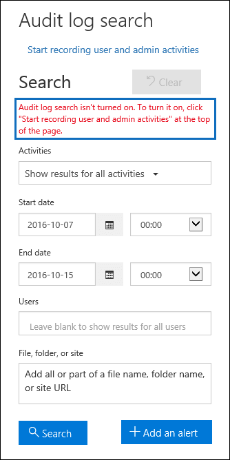 A message is displayed if auditing is turned off
