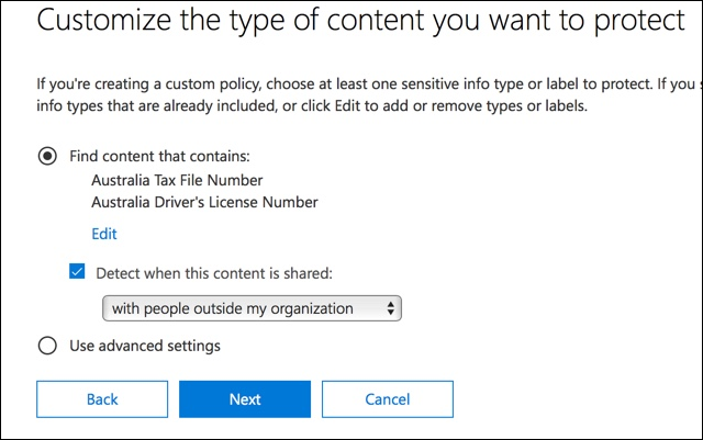 Options to customize the type of content to protect