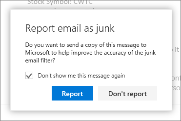 Report junk email to Microsoft from Outlook on the web