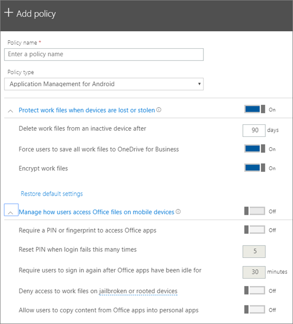 Screenshot of Create a policy with Application management for Android selected