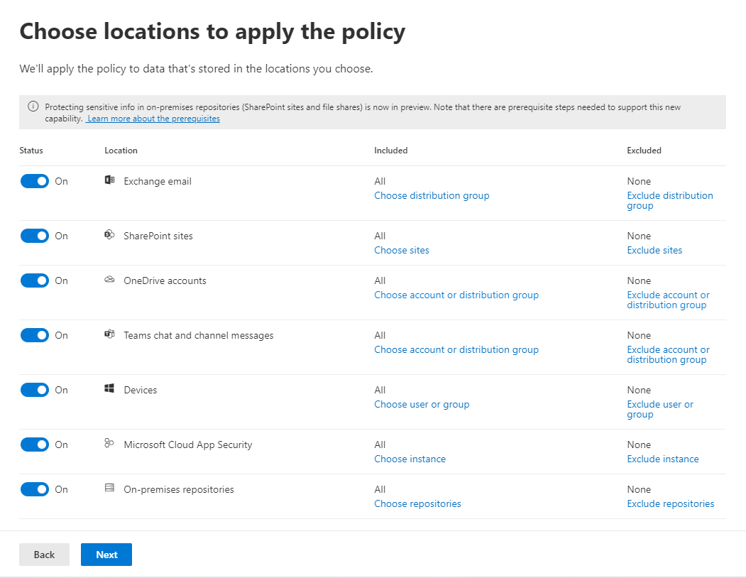 Options for locations where a DLP policy can be applied