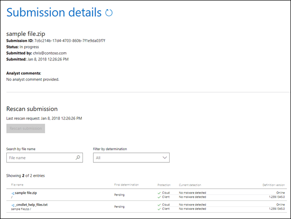 Submission details in the Windows Defender Security Intelligence website