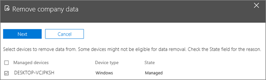 On the remove comapany data pane, select the device from which you want to remove the data.