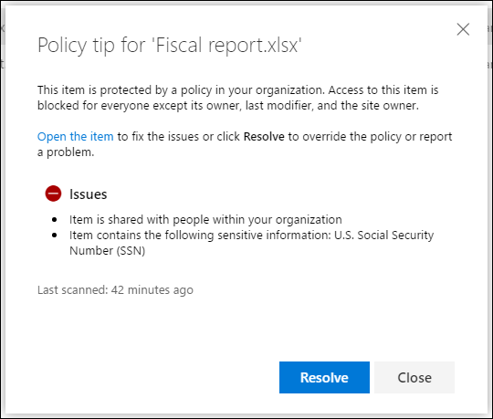 Policy tip for a document in a OneDrive account