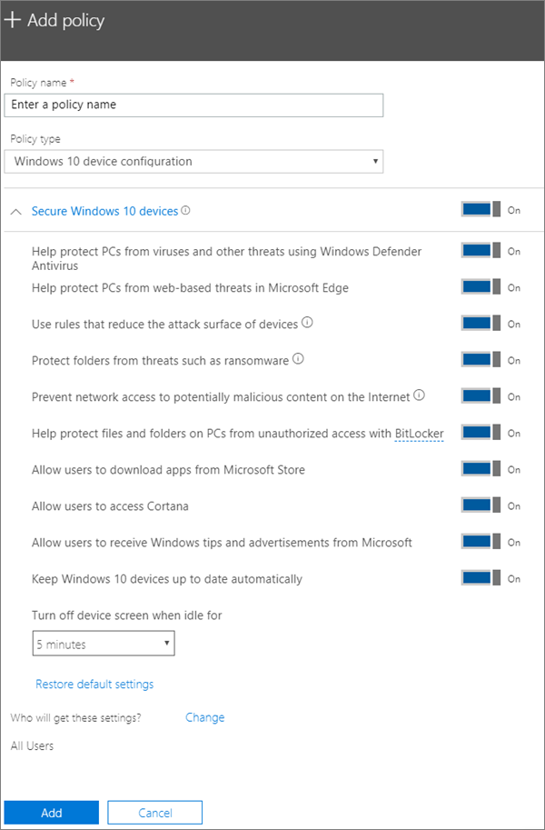 Add policy pane with Windows 10 Device configuration selected