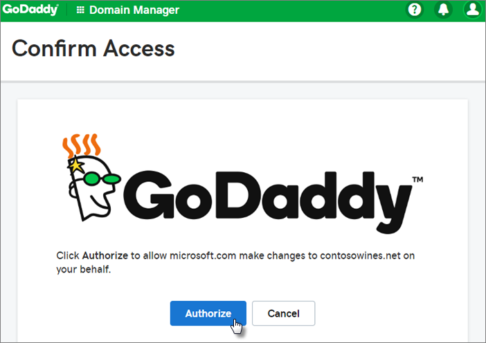 On GoDaddy Confirm Access page, select Authorize.