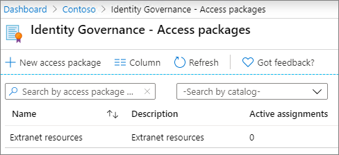 Screenshot of the access packages screen in Azure Active Directory Identity Governance