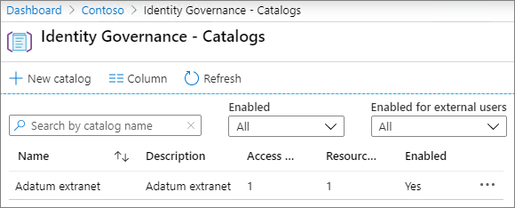 Screenshot of the catalogs page in Azure Active Directory Identity Governance