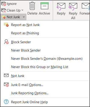 Report not junk or phishing email from the ribbon in the Junk Email folder