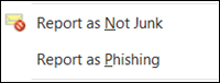 Report multiple not junk or phishing email messages from right-click in the Junk Email folder