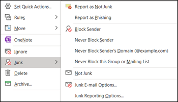 Report not junk or phishing email from right-click in the Junk Email folder