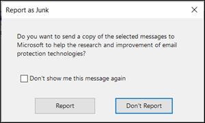 Report as junk dialog