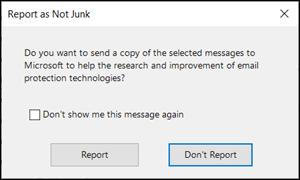 Report as not junk dialog