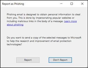 Report as phishing dialog