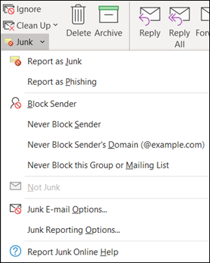 Report junk or phishing email from the ribbon