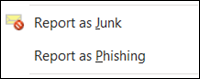 Report multiple junk or phishing email messages from right-click