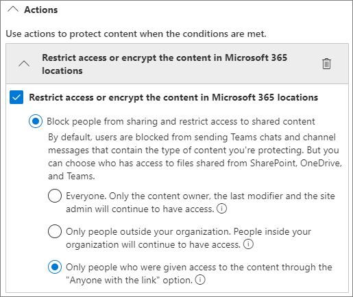 Screenshot of DLP rule action options
