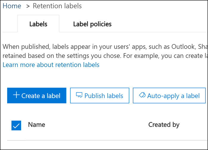 Options to publish or auto-apply retention label