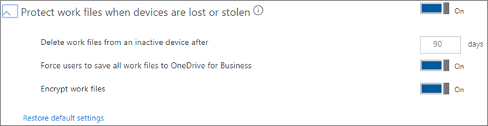 Screenshot of default values for protecting files on lost devices.