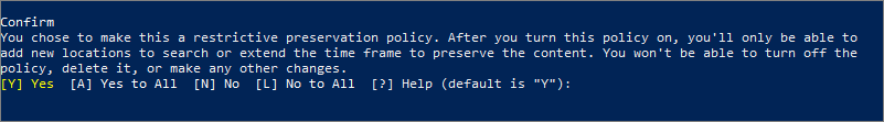 Prompt to confirm you want to lock a retention policy in PowerShell