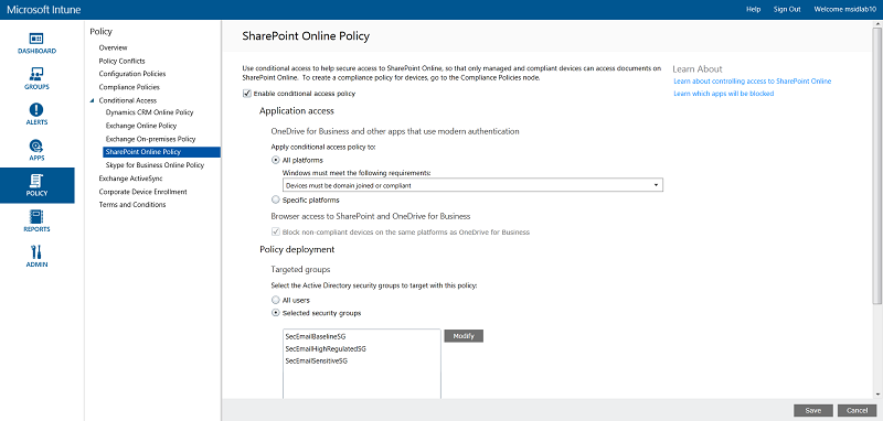 SharePoint Online Policy