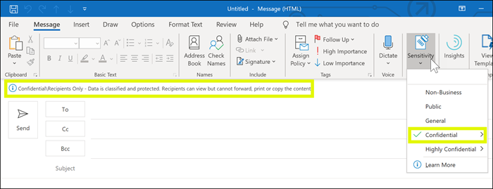 Sensitivity label applied to message in Outlook