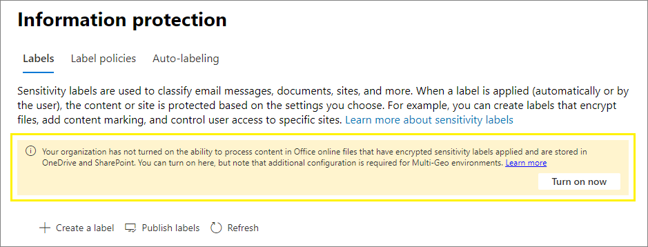 Turn on now button to enable sensitivity labels for Office Online