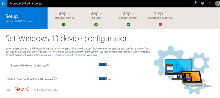 Screenshot of set Windows 10 device configuration page.