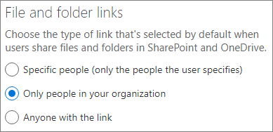 Screenshot of SharePoint default link type setting