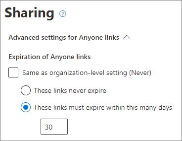 Screenshot of SharePoint site-level Anyone link expiration settings
