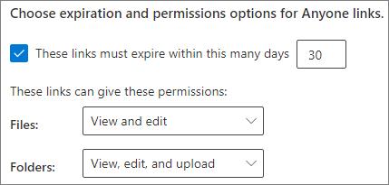 Screenshot of SharePoint organization-level Anyone link expiration settings