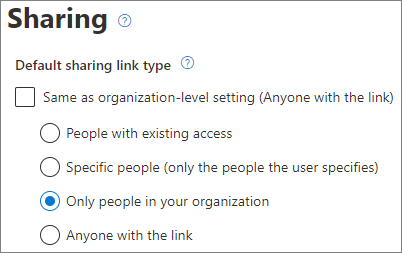 Screenshot of SharePoint site-level default link type settings