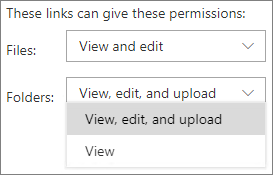 Screenshot of SharePoint organization-level Anyone link permissions settings