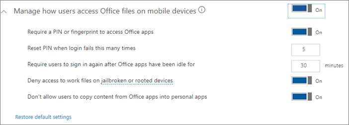 Screenshot of protection settings for Office files on mobile.