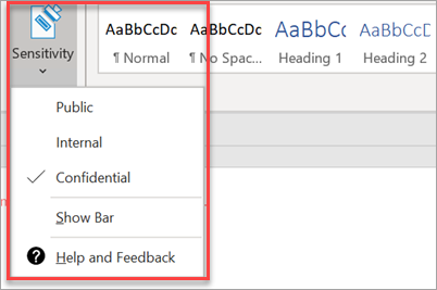 Protection tab drop-down in a Word document.