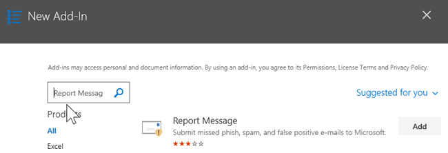 Search for Report Message and then choose Add