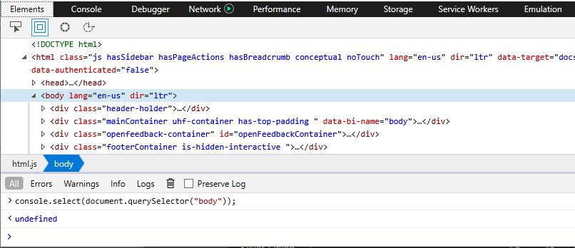 DevTools - Console - Console API - Microsoft Edge Development