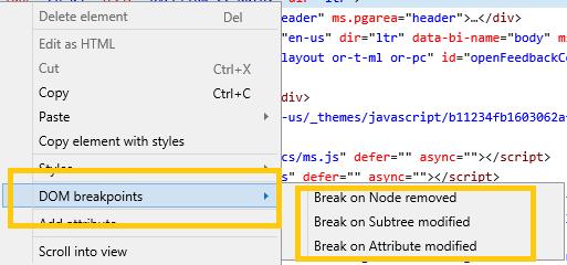 DevTools - Elements - DOM breakpoints - Microsoft Edge Development