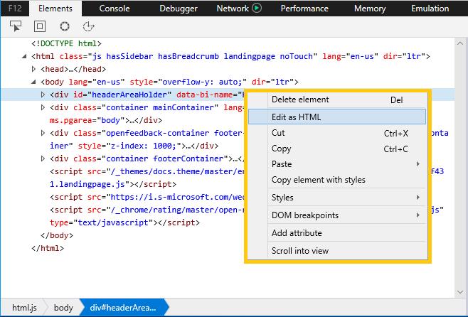 DevTools - Elements - Microsoft Edge Development   Microsoft
