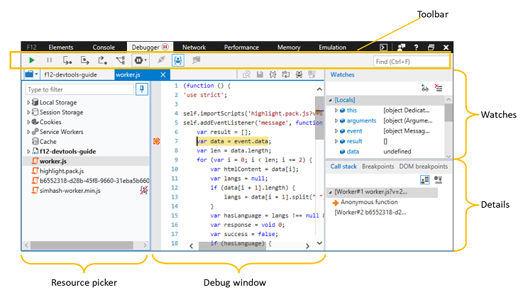 The Microsoft Edge F12 DevTools Debugger