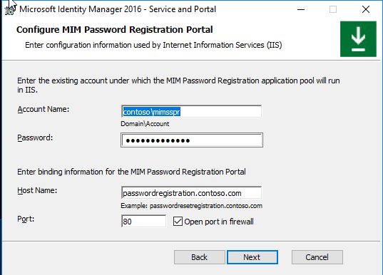 Install Microsoft Identity Manager Service and Portal | Microsoft Docs