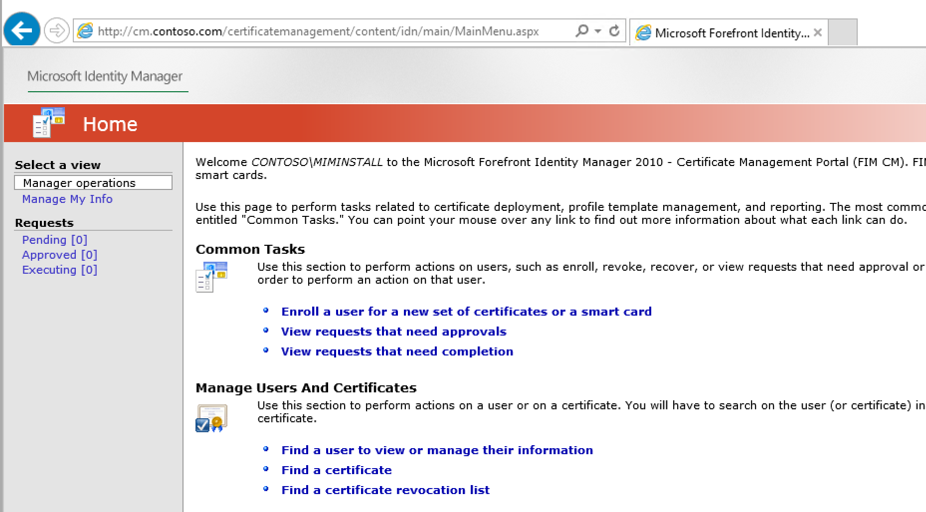 Deploying microsoft identity manager certificate manager visit site from server corpcm httpscmntosocertificatemanagement 1betcityfo Gallery