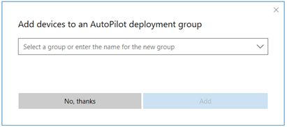 Screenshot of Add devices to a group dialog. You can create a new group, or select a current group.