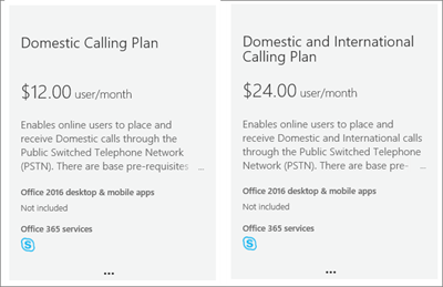 Screen shot showing voice calling plan options.