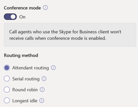 Screenshot of conference mode and routing method settings